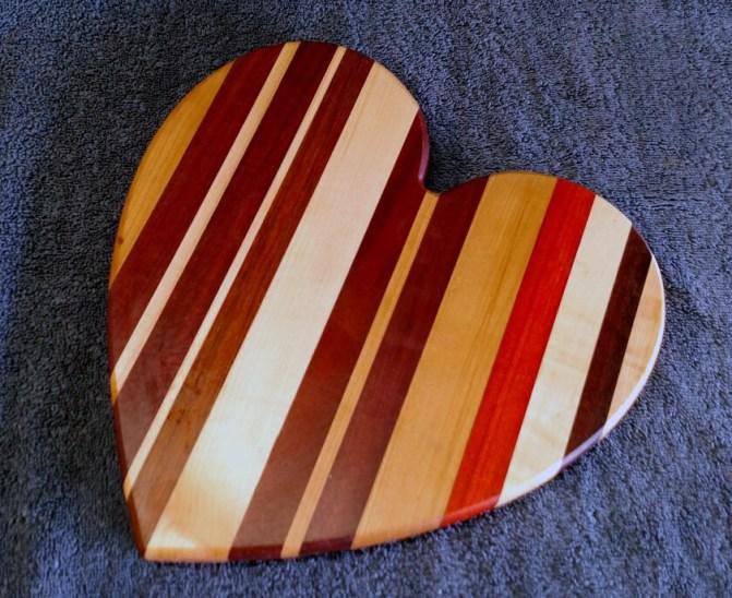 """Heart 18 - 901. Cherry, Purpleheart, Hard Maple, Jatoba & Padauk. 11"""" x 11"""" x 3/4""""."""