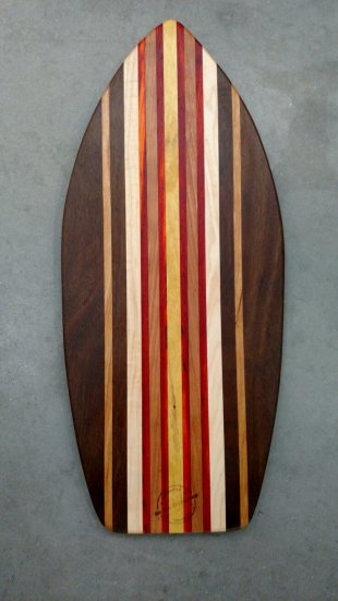 Medium Surfboard 17 - 07. Black Walnut, Cherry, Hard Maple, Padauk & Canarywood.
