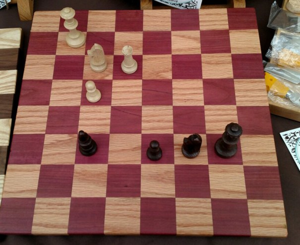 "Chess 18 - 01. Purpleheart & Red Oak. 2"" Squares. Sold in its first showing."