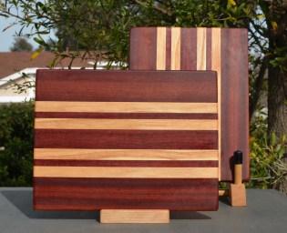 "Cheese Board 18 - 107. Bloodwood & Honey Locust. 7"" x 11"" x 5/8""."