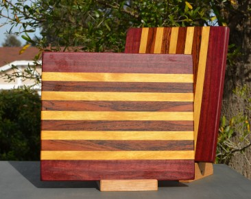 "Cheese Board 18 - 112. Purpleheart, Yellowheart & Jatoba. 9"" x 11"" x 5/8""."