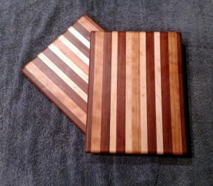 "Cheese Board 18 - 113. Jatoba, Cherry & Hard Maple. 8"" x 11"" x 5/8""."