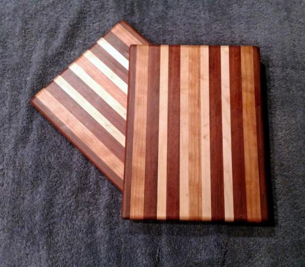 "Cheese Board 18 - 113. Jatoba, Cherry & Hard Maple. 8"" x 11"" x 5/8""."