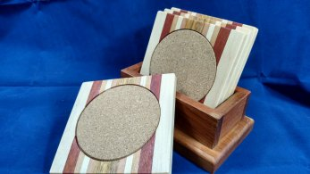Coasters 18 - 11. Hard Maple, Bloodwood, Cherry & Canarywood.