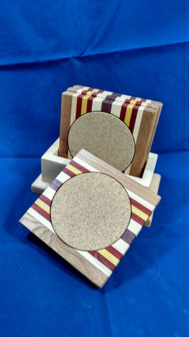 Coasters 18 - 12. Sapele, Hard Maple, Padauk, Yellowheart & Purpleheart.