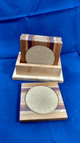 Coasters 18 - 16. Cherry, Hard Maple, Purpleheart, Jatoba & Sapele.