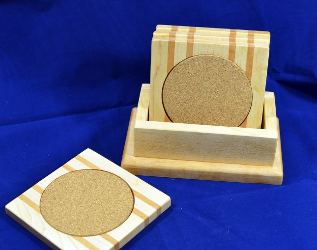 Coasters 18 - 28. Hard Maple & Cherry.