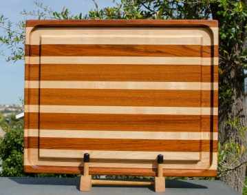 """Cutting Board 18 - 306. Jatoba & Hard Maple. Edge Grain, Juice Groove. 17"""" x 21"""" x 1-3/4"""". This is a heavy board with a giant juice groove."""