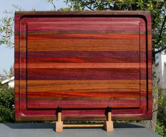 """Cutting Board 18 - 307. Black Walnut, Purpleheart, Bloodwood, Padauk & Jatoba. 17"""" x 21"""" x 1-1/2"""". Commissioned Piece."""
