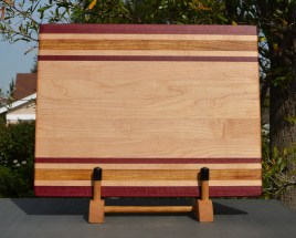 "Cutting Board 18 - 309. Purpleheart, Hard Maple & Canarywood. Edge Grain. 12"" x 16"" x 1-1/4""."