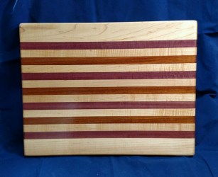 "Cutting Board 18 - 313. Hard Maple, Purpleheart & Jatoba. Edge grain. 14"" x 18"" x 1-1/8""."