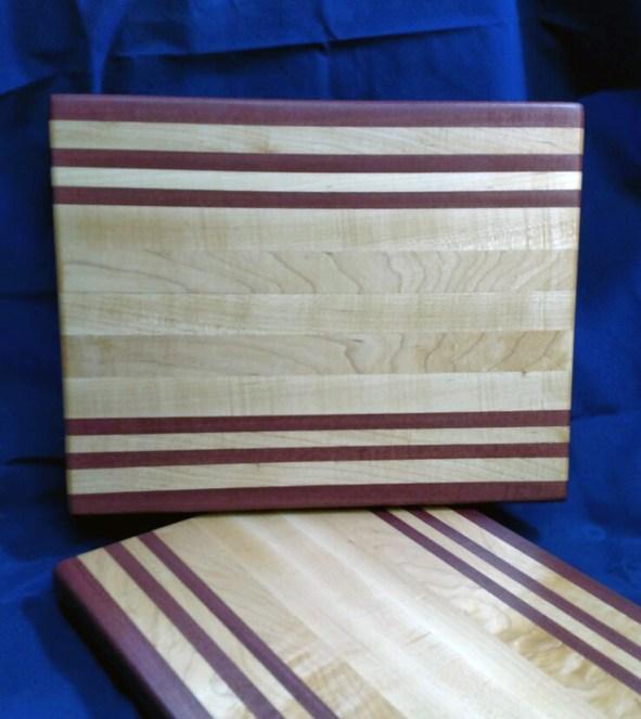 "Cutting Board 18 - 317. Purpleheart & Hard Maple. 12"" x 16"" x 1-1/8"". Edge grain."
