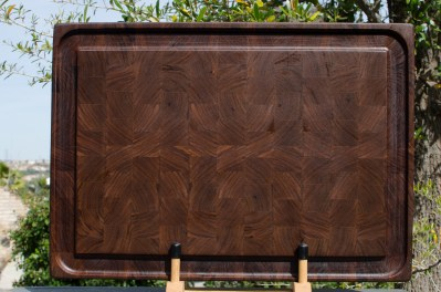 "Cutting Board 18 - 704. Black Walnut. End Grain, Juice Groove. 16"" x 21"" x 1-1/2""."