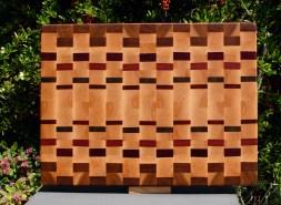 "Cutting Board 18 - 708. Hard Maple, Mesquite, Bubinga, Purpleheart, Bloodwood & Padauk. 15"" x 20"" x 1-1/2""."
