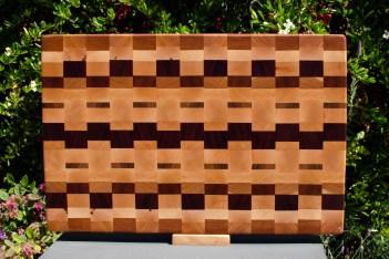 "Cutting Board 18 - 711. Cherry, Hard Maple, Purpleheart & Black Walnut. End grain. 14"" x 21"" x 1-1/2""."