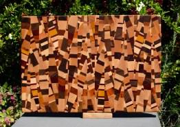 """Cutting Board 18 - 712. Chaos board, 13 species identified. End grain. 13"""" x 19"""" x 1-1/4""""."""