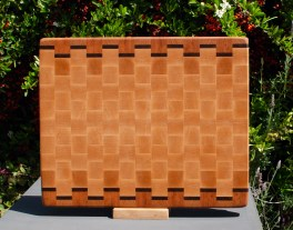 "Cutting Board 18 - 716. Cherry, Black Walnut & Hard Maple. End grain. 12"" x 15"" x 1-1/4""."