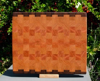 "Cutting Board 18 - 717. Black Walnut & Cherry. 13"" x 15"" x 1-1/4""."