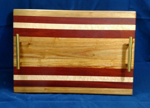 """Serving Tray 18 - 21. Canarywood, Bloodwood & Hard Maple. 12"""" x 18"""" x 3/4""""."""