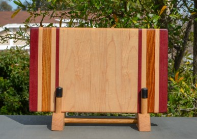 "Small Board 18 - 203. Purpleheart, Hard Maple & Canarywood. 7"" x 12"" x 1-1/4""."