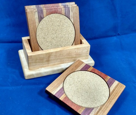 Coasters 18 - 17. Sapele, Hard Maple, Purpleheart, Cherry & Bloodwood.