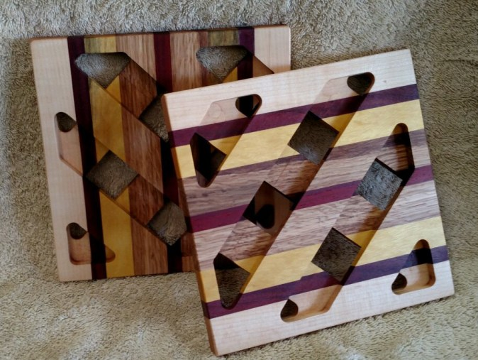 Trivet 18 - 720. Hard Maple, Purpleheart, Yellowheart & Hickory.