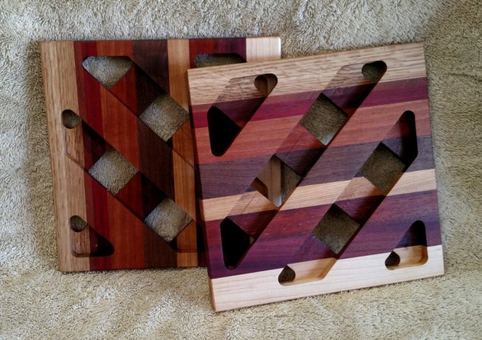Trivet 18 - 725. White Oak, Purpleheart, Bubinga, Bloodwood, Hard Maple & Black Walnut.
