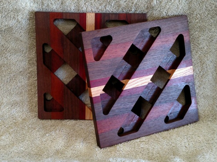 Trivet 18 - 728. Jarrah, Purpleheart, Black Walnut & Honey Locust.