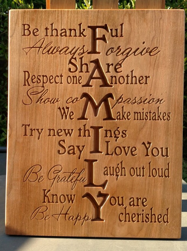 "CNC Sign 18 - 26 Family. Cherry. 12"" x 16""."