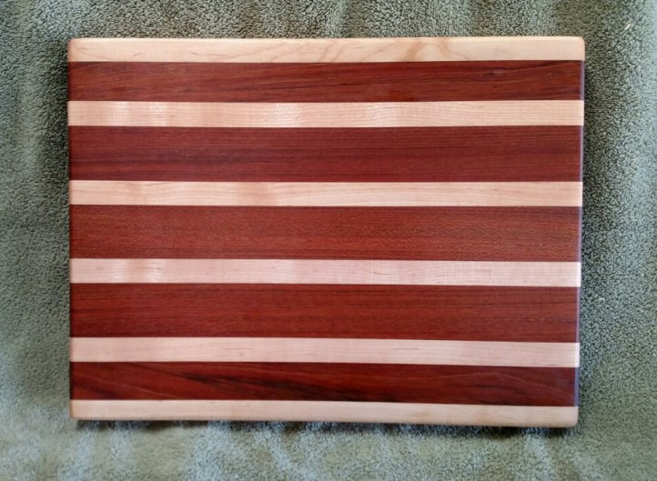 "Cutting Board 18 - 318. Hard Maple & Jatoba. 12"" x 16"" x 1-1/2""."