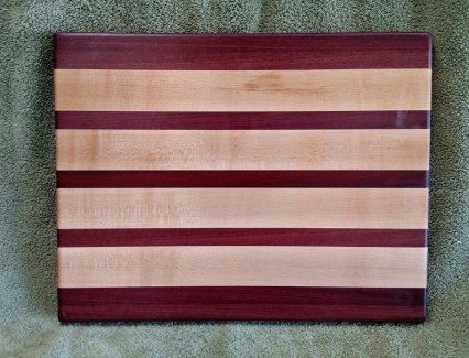 "Cutting Board 18 - 322. Purpleheart, Hard Maple & Bloodwood. 12"" x 16"" x 1-1/8""."