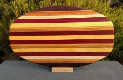 Large Serving Piece 18 - 04. Black Walnut, Canarywood, Hard Maple, Padauk & Bloodwood.