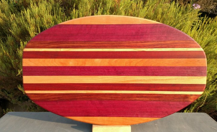 Large Serving Piece 18 - 15. Cherry, Purpleheart, Bloodwood & Hard Maple.