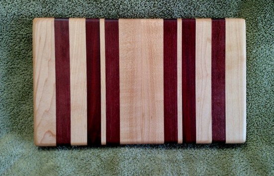 "Small Board 18 - 207. Purpleheart, Hard Maple & Bloodwood. 7"" x 12"" x 1-1/8""."