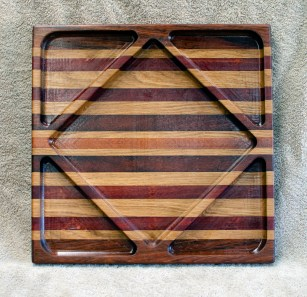 "Cheese & Cracker Server 18 - 205. Jatoba, White Oak, Bloodwood, Merbau & Cherry. 14"" square x 1-1/8"" thick."