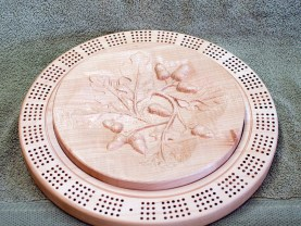 Cribbage 18 - 02. Alternative top, Hard Maple with 3D carving of oak leaves & acorns.