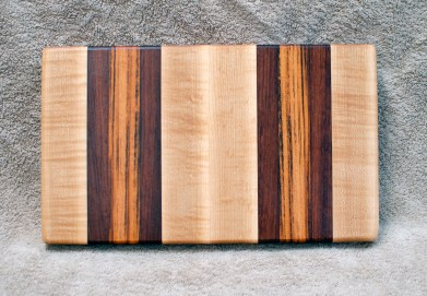 "Small Board 18 - 212. Hard Maple, Jatoba & Goncalo Alves. 7"" x 12"" x 1-1/4""."