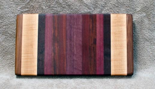 """Small Board 18 - 213. Black Walnut, Hard Maple, Jarrah, Purpleheart, Bubinga & Bloodwood. 7"""" x 12"""" x 1-1/4""""."""