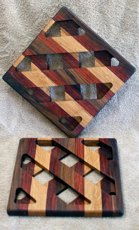 Trivet 18 - 731. Black Walnut, Padauk & White Oak.