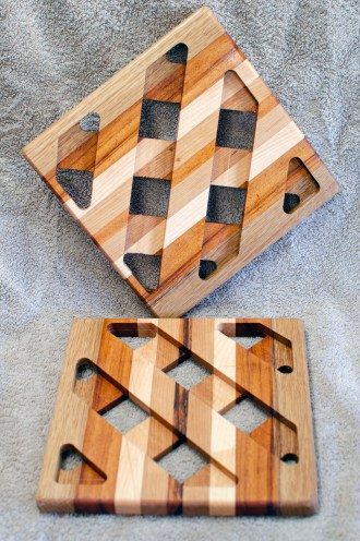 Trivet 18 - 736. Sapele, Goncalo Alves & Hard Maple.