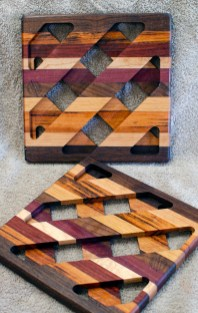 Trivet 18 - 738. Black Walnut, Hard Maple, Goncalo Alves & Purpleheart.