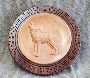 Cribbage 18 - 14a. Cherry Top, Hard Maple bottom.