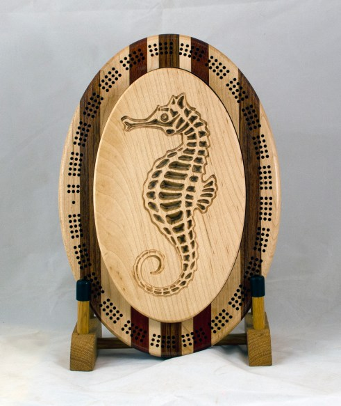 Cribbage 18 - 24. Hard Maple top for a 3 track board. Seahorse.