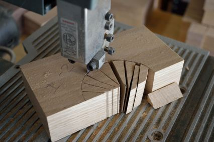 Making relief cuts on the radius of the circle makes for a much smoother arc to be cut in the stock.