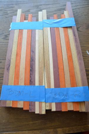 Once the layout of the board is done, I taped the individual boards together until I was ready for the glue-up.