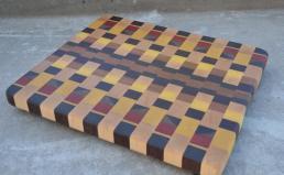 # 58 Cutting Board, $85. End Grain. Hard Maple, Walnut, Yellowheart, Padauk, Cherry.