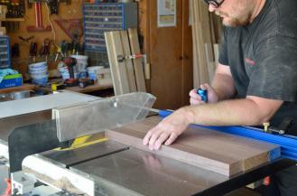 Edges trimmed square on the table saw. Action photography and shop safety supervision by Velda, incidentally.
