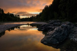 At Glacier National Park, the last light of day melts into the Flathead River. From the Park's Facebook page.