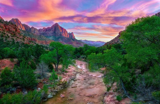 The sun paints the sky with pastel colors over Zion National Park. Photo by Kim Hang Dessoliers. Tweeted by the US Department of the Interior, 1/8/15.