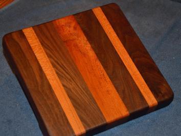 "Cheese Board # 15 - 004. Black Walnut and Cherry. 8"" x 10"" x 1-1/2""."